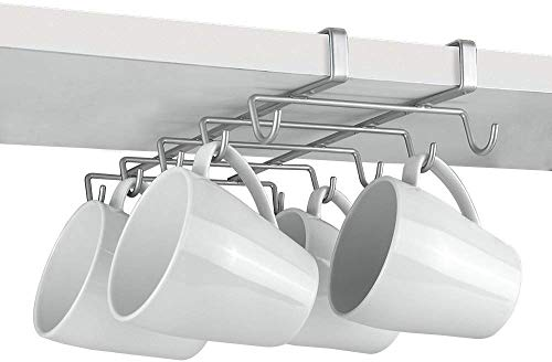 Metaltex MY-MUG Kitchen hanger for 10 cups, silver, 28 x 14 x 6 cm