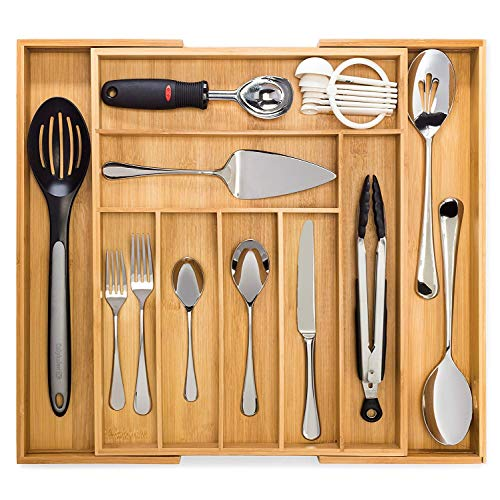 Artisware Bamboo Extendable Drawer Organizer, Cutlery and Utensil Tray (7 Expandable Compartments)