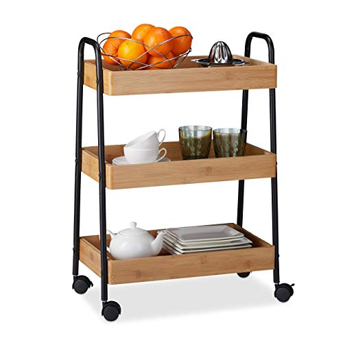 Relaxdays Waitress with 3 Shelves, Handles and 360º Rotating Wheels, Metal, Brown and Black, 70 x 49 x 28 cm