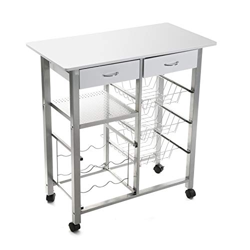 Versa 15810410 Kitchen Cart, Metal, White, 82 x 40 x 76 cm