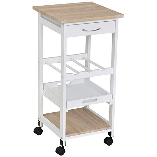 HOMCOM Kitchen Cart 4 Tier Service Cart with Swivel Wheels Drawer Shelves Bottle Storage for Kitchen Living Room Dining Room 37x37x76 cm White