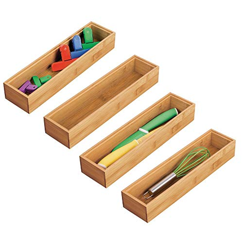 mDesign Kitchen Organizer Box Set of 4 - Rectangular Bamboo Storage Box for Drawers - Stackable Wooden Organizer for Storage of Cutlery and Kitchen Utensils - Natural Color