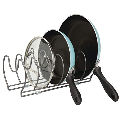mDesign Holder for pans, lids and saucepans - Compact pot lid organizer for kitchen cabinets - Metal utensil shelf - Space saving - graphite color