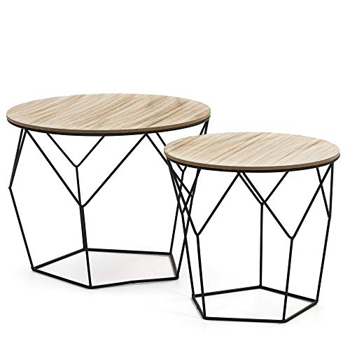 VS Sale-stock Set of 2 Tokyo Coffee Coffee Tables with Natural Wood Top and Metal Structure in Black