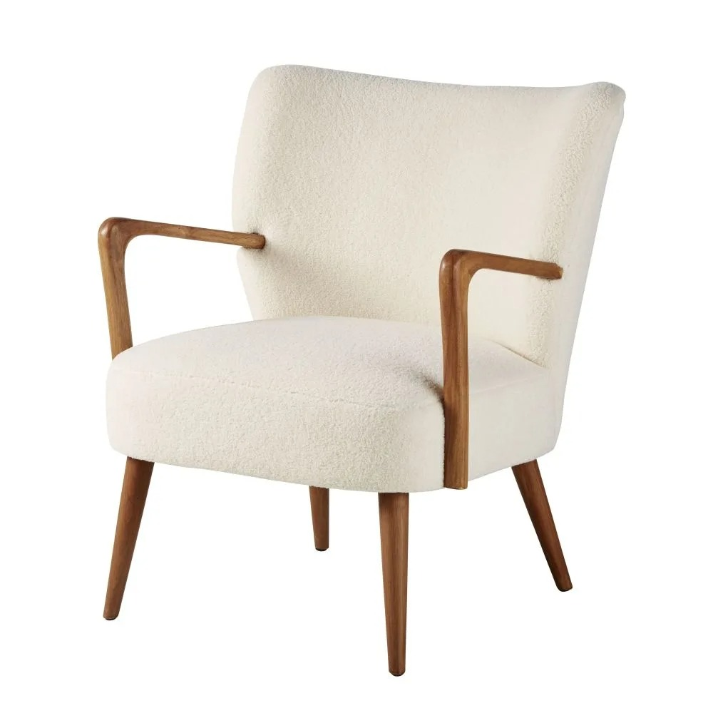 MEYER.- White terry armchair and solid birch
