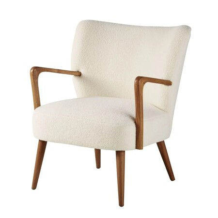 White Terry And Birch Armchair M