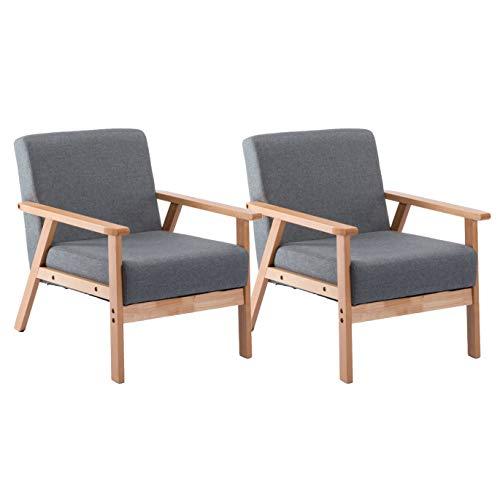 DORAFAIR Pack of 2 Retro Gray Lounge Armchair Reclining Relax Armchair, Solid Wood Frame + Cushion, 64 * 62 * 71 cm