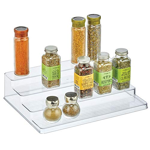 mDesign Spice Organizer - Handy 4 Tier Plastic Cabinet Organizer Stand - Spice Racks for Storing Condiments and Other Packaged Foods - Transparent