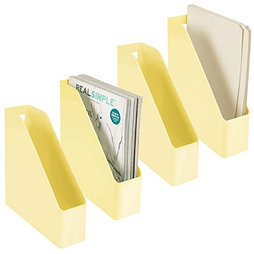 mDesign Set of 4 Sorters for Magazines, Documents or Letters - Plastic Magazine Filing Rack with Handle - Vertical Office Document Organizer System - Light Yellow