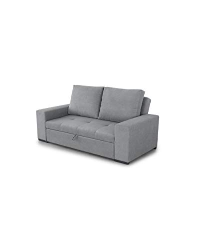 SWEET SOFA® - VIELLA Sofa Bed, 3 seats, Convertible into chaise longue or Bed, Sliding Seat in Gray Anti-Stain Fabric.  - Gray