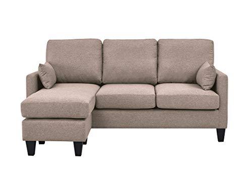 Astan Hogar AH-AR40700AR Lena-3 Seater Sofa Bed with Chaise Longe, Upholstered Fabric, Sand,