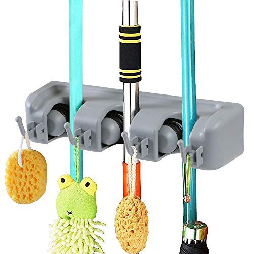 Vicloon Hanger and Organizer, Broom Hanger for Mop and Holder Broom / Magic Holder for Kitchens or Garages (3 positions 4 Hooks)