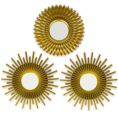 BONNYCO Gold Decorative Wall Mirrors Pack 3 Decorative Mirrors Ideal for Home, Bedroom and Living Room Decoration |  Round Wall Mirrors Original Gifts for Women |  Wall Decor