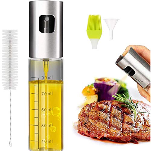 Eletorot Sprayer Oil Spray Oil Kitchen Olive Oil Dispenser Vinegar Sprayer 304 Stainless Steel Glass Bottle 100 ML for Cooking, Salad, Baking, Bread, BBQ