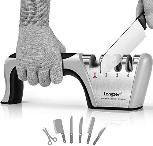 Knife Sharpener, Professional Knife Sharpener, Knife Sharpener, longzon 4 in 1 Manual Knife Sharpener for Kitchen with One Pair of Non-slip Gloves, for Knives and Scissors