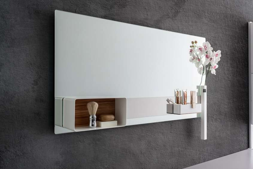 large mirror with shelves