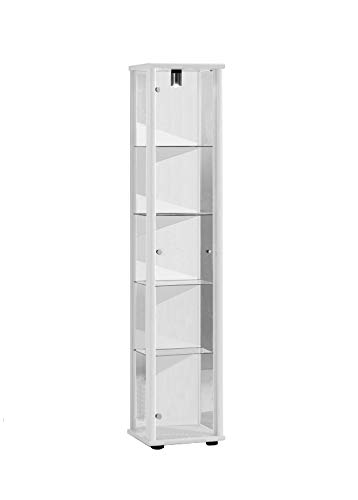 Showcase 176x37x33 cm wall cabinet in white with lighting with 4 glass shelves