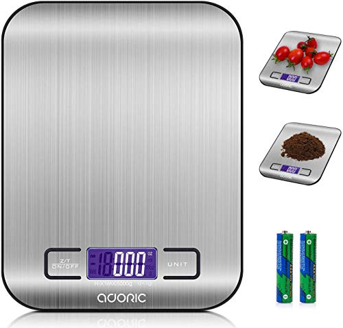 ADORIC Stainless Steel Digital Kitchen Scale, 5kg / 11 lbs, Multifunctional Food Scale, Kitchen Weight, Silver Color (Batteries Included)