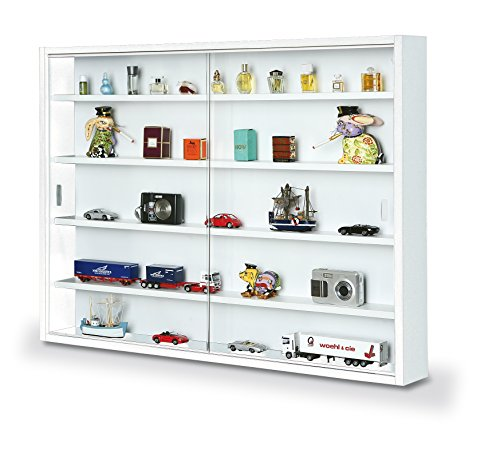 Inter Link Simply MDF wood and glass display cabinet, White, 80 x 9.5 x 60 cm