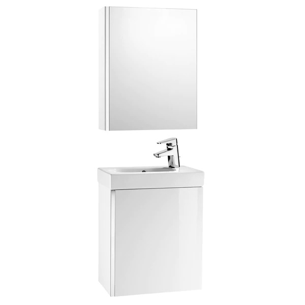 Bathroom set with Mini Roca cabinet with sink and mirror cabinet