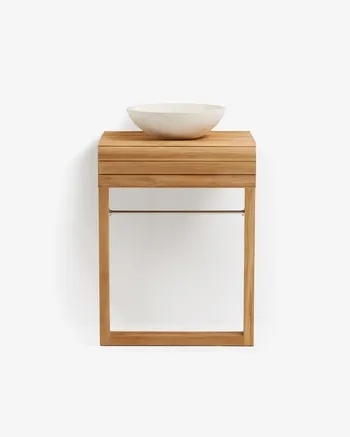 Kuveni Kuveni wall-mounted bathroom cabinet in solid teak wood 60 x 80 cm