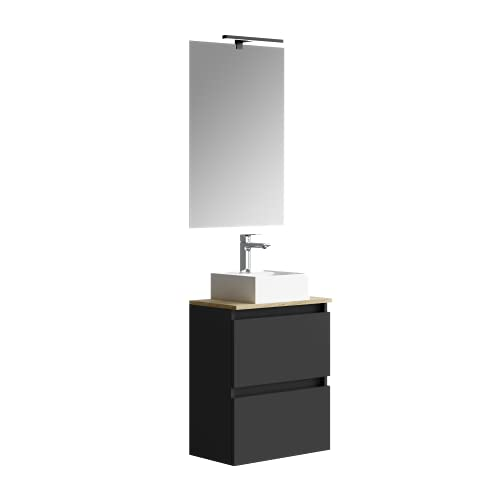 Baikal Marly 280034335, Small bathroom cabinet with ceramic basin and mirror with LED light fixture, with a Swing Door and a Drawer, Finished in Black, Measurements: 50 x 60 x 30 cm